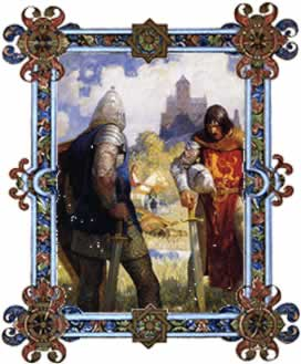 """I am Sir Launcelot du Lake"" N.C. Wyeth Illustration for The Boy's King Arthur"